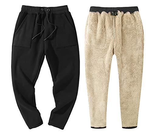 - Gihuo Men's Winter Fleece Sweatpants Sherpa Lined Athletic Pants Lounge Trousers (Black, M)