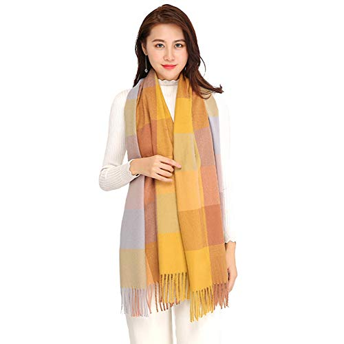- Longwu Women Soft Cashmere Wool Scarf Large Pashminas Shawl and Wrap Warm Stole Blanket-Ginger yellow