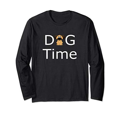 Dog Time For Walkies Doggy Puppy Canine Grooming Kennel Fun  Long Sleeve T-Shirt