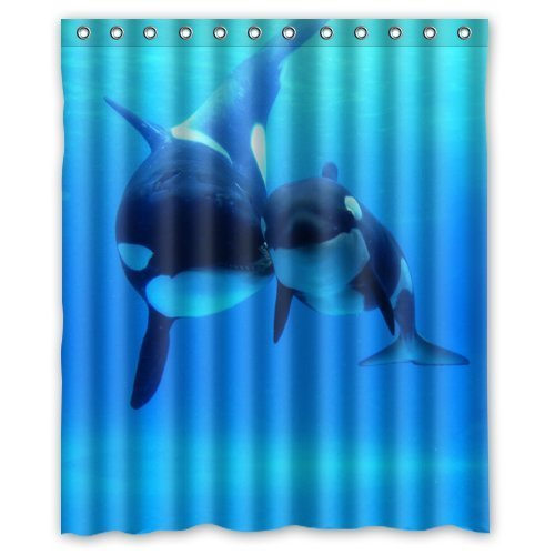 Fashionable Bathroom Collection Custom Waterproof Orca Killer Whales Shower Curtain 60quot X 72quot