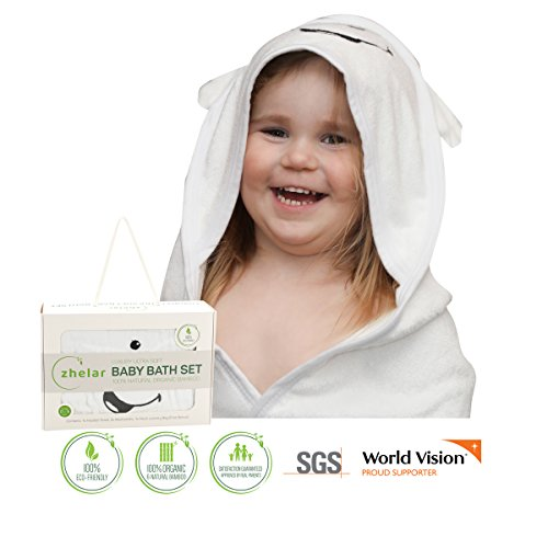 Luxury Baby Bath Set by ZHELAR | 100% Organic Bamboo | Extra Large, Ultra Soft, Plush & Cosy Baby Hooded Towel & 2 Washcloths for Newborn, Infant, & Toddler | Perfect Shower Gift | BONUS Laundry Bag