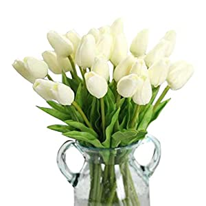 CQURE Artificial Flowers,Fake Flowers Bouquet Silk Tulip Real Touch Bridal Wedding Bouquet for Home Garden Party Floral Decor 10 Pcs 73