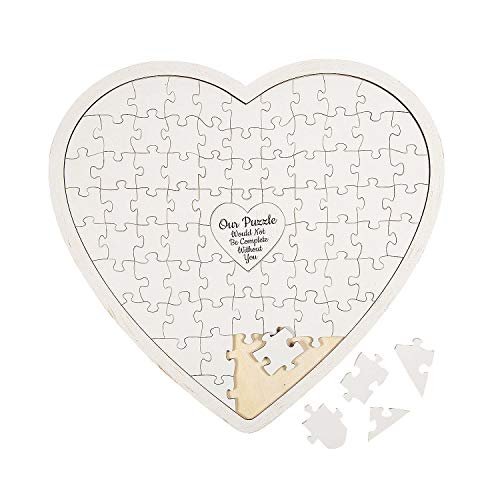 Heart Shaped Puzzle Guest Book (76 Pieces - Wood) Wedding Decor