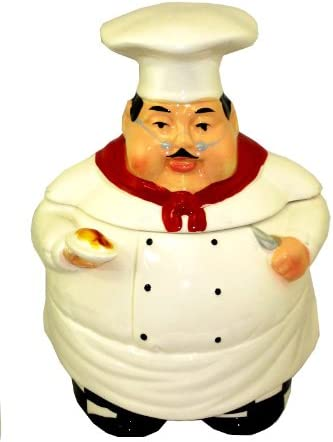 Amazon Com Fat Chef Ceramic Cookie Jar Bistro Italian Kitchen Dining