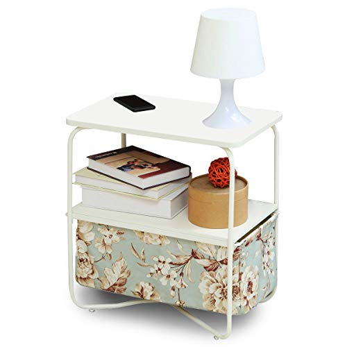 Oh!Trendy 3 Tier Small End Table Nightstand Side Table with Removable Canvas Storage Bin for Living Room Bedroom Small Space (Floral)