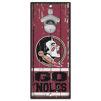 - WinCraft NCAA Florida State Seminoles 5x11 Wood Sign Bottle Opener, Team Colors, 5