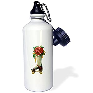 "3dRose ""Vintage Victorian Steampunk Roller Skate Boot with Red Rose Bouquet"" Sports Water Bottle, 21 oz, White"