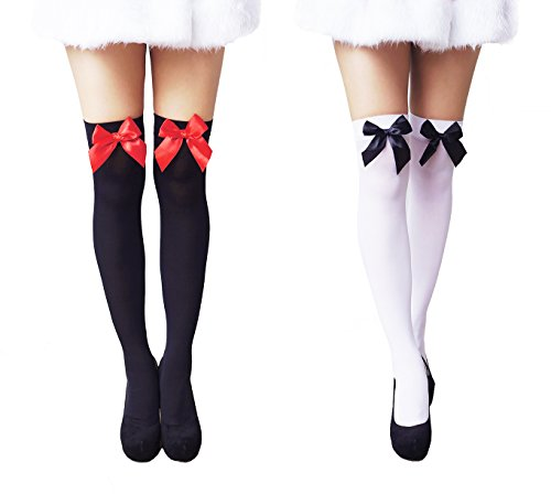 Another Me Women's Opaque Cute Sexy Nylon Knee Highs Thigh High Stockings with Satin Bows 29.5