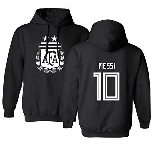 Tcamp Argentina 2018 National Soccer #10 Lionel MESSI World Championship Men's Hooded Sweatshirt (Black, Adult -