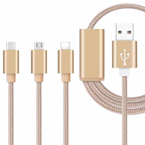 ONX3 (Gold) Premium Quality 1 Meter Length 3 in 1 Multiple USB Charging Cable High Speed Nylon Braided with Type C / 8 Pin Lighting / Micro USB Connector for (Gold Belle Lighting)