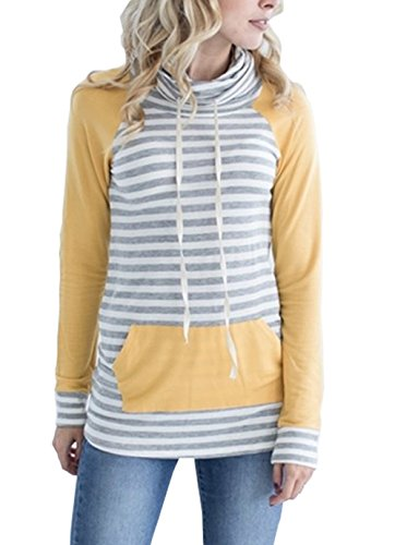 MEROKEETY Women's Striped Raglan Sleeve Cowl Neck Tunic Sweatshirt Tops Kangaroo Pocket