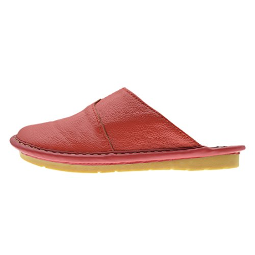 Open Slippers Toe Shoes Red Closed Women Slides Leather House Maylian Back Real w0x47Inq