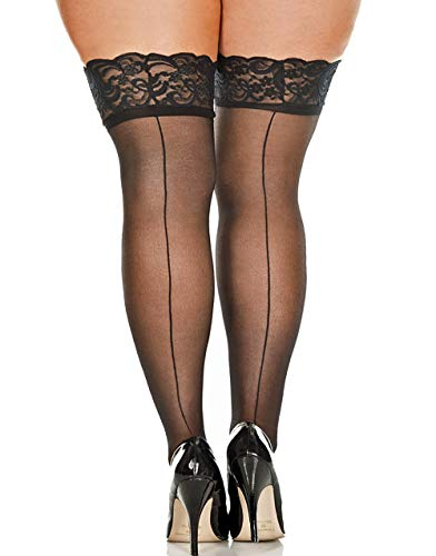 Lacy Line Plus Size Sheer Lace Top Back Seam Thigh High Stockings (Plus ()
