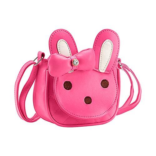 Kids Shoulder Bag Crossbody Purse Mini Cartoon Animal Preschool Messenger Handbag for Children Toddler Baby Girls DEEKEY (Rabbit Rosy)
