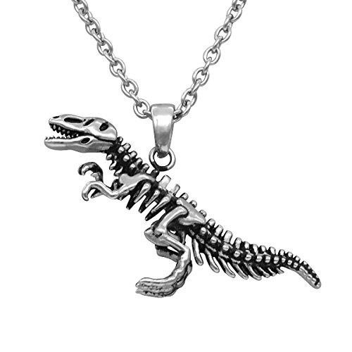 Controse Dinosaur Necklace T-Rex Skeleton Pendant 316L Stainless Steel