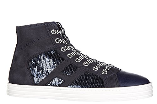 Hogan Rebel chaussures baskets sneakers hautes femme en daim r141 laterale paile