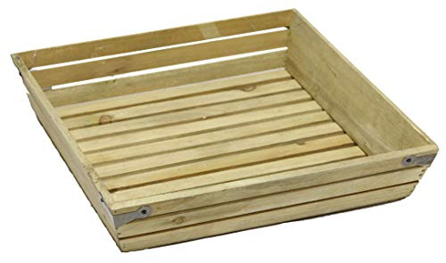 Admired By Nature ABN5E020-NTRL Natural Wood Large Shallow Square Crate with Metal Corner Design 020-NTRL