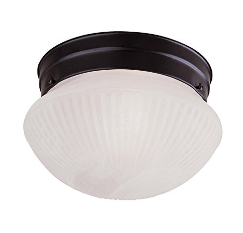 Savoy House 403-31 Flush Mount with White Ribbed Marble Shades, Flat Black Finish by Savoy House
