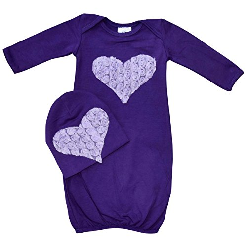 Unique Baby Baby-Girls Heart Design Baby Gown and Matching Cap Newborn Purple