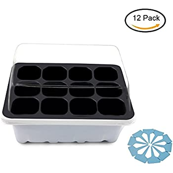 Gunsamg Seedling Starter Trays Plant Germination Kit,144 Cells, Plus 10 Plant Tags(12 Trays,12 Cells Per Tray)
