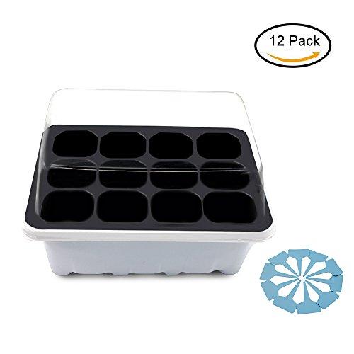 Gunsamg Seedling Starter Trays Plant Germination Kit,144 Cells, Plus 10 Plant Tags(12 Trays,12 Cells Per
