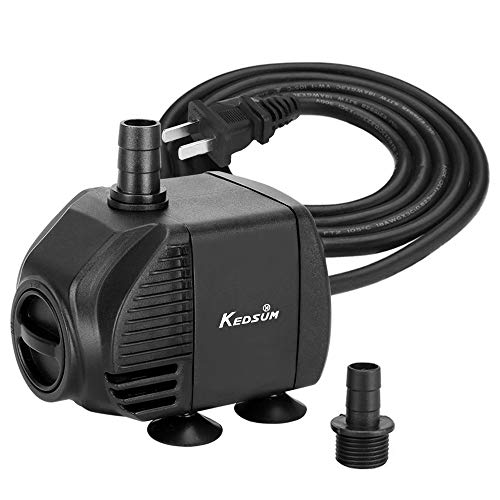 (KEDSUM 140GPH Submersible Pump, 9W Ultra Quiet Water Pump with 2.6ft High Lift, Fountain Pump with 5 ft Power Cord, 2 Nozzles for Fish Tank, Pond, Aquarium, Statuary,)