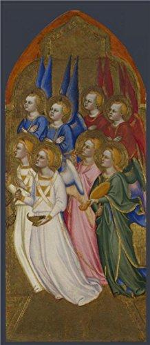 Oil painting ` Jacopo Di Cione And workshop-seraphim、Cherubim and Adoring Angels 2 1370–1`印刷ポリエステルキャンバスに、24x 55インチ/ 61x 140CM、最高のホーム、地下室装飾アートワークとギフトはこの素晴らしいアート装飾プリントキャンバスの商品画像