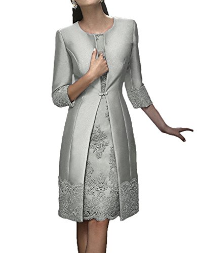 Promworld Women's Scoop Neck Applique Short Mother of the Bride Dress with Jacket Silver US18