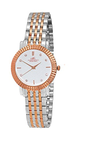 Adee Kaye Women's Quartz Stainless Steel Dress Watch, Color:Two Tone (Model: AK4801-LTTRG)