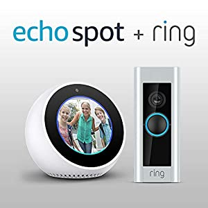 amazon echo spot white and ring video doorbell pro. Black Bedroom Furniture Sets. Home Design Ideas