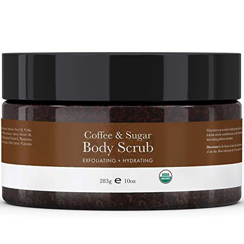 Organic Coffee Body Scrub – Sugar Scrub Hydrating Exfoliating Body Scrubs for Women & Men, Body Exfoliator and Polish…