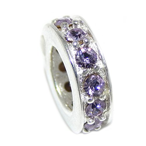 Pro Jewelry .925 Sterling Silver Crystal Pave Birthstone Spacer Bead Charm (June Lt Amethyst)
