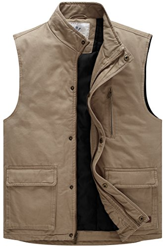 WenVen Men's Warm Lined Zip up Cotton Vest(Khaki,Small)