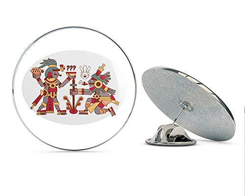 "BRK Studio Simple Ancient Mayan Aztec Chocolate Making Hieroglyphic Cartoon Round Metal 0.75"" Lapel Pin Hat Shirt Pin Tie Tack Pinback"
