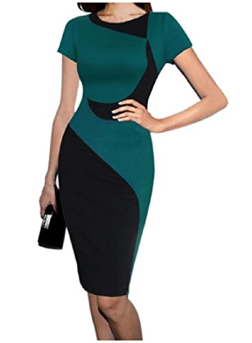 Dress Printed Long Comfy Green Silm Party Sexy Pencil Bodycon Career Women's RRFzq6wng