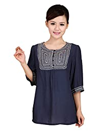 Kafeimali Women's Linen Shirts Embroidered Tunic Peasant Tops Mexican Blouse