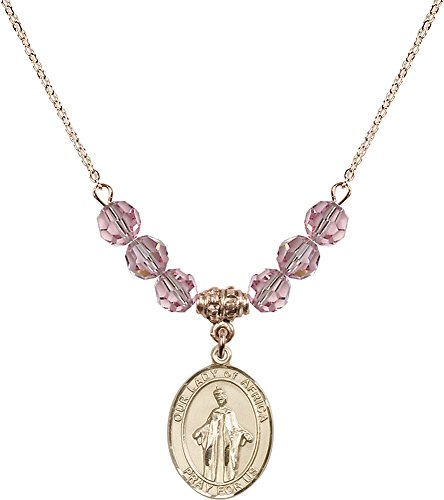 18-Inch Hamilton Gold Plated Necklace with 6mm Light Rose Birthstone Beads and Gold Filled Our Lady of Africa Charm. by F A Dumont