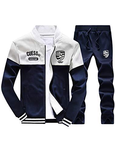 Lavnis Men's Casual Tracksuit Long Sleeve Full-zip Running Jogging Sports Jacket And Pants Dark Blue L (Logo Tracksuit)