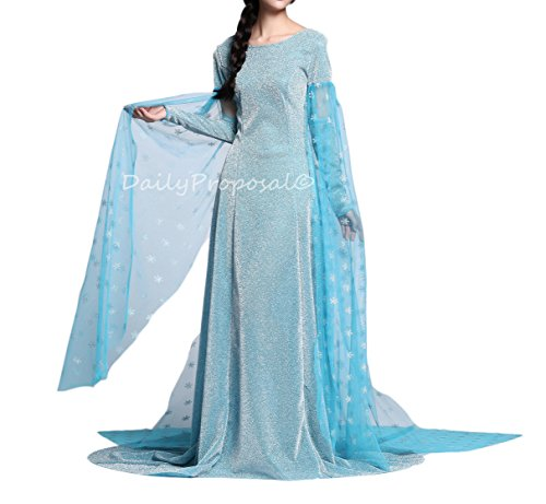 Mother Daughter Frozen Costumes (AE6 Adult Elsa Snow Queen Dress Halloween Costume Cosplay S-XXL USA (XXL))