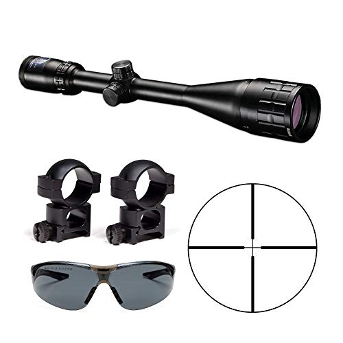 Bushnell Banner Dusk & Dawn Multi-X Reticle Adjustable Objective 6-18x50mm Riflescope with High 2-Pc. Mounting Rings and Shooting Glasses Kit (Bushnell Air Gun Scope)
