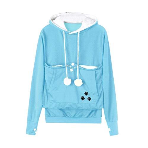 Rambling Fashion Women Cat Ear Big Kangaroo Pouch Hoodie Long Sleeve Pet Cat Dog Holder Carrier Sweatshirt