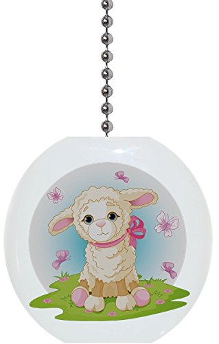 Lamb with Butterflies Solid Ceramic Fan Pull