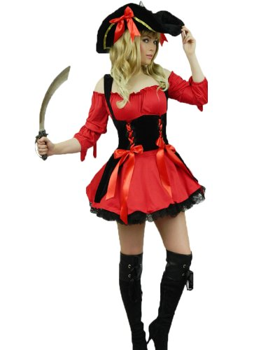 [Yummy Bee Womens Pirate Caribbean Captain Costume + Sword Hat Size 10 - 12, Red] (Musketeer Sword Costume)