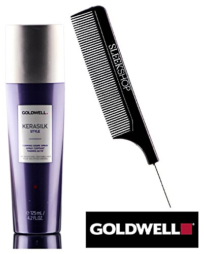 Goldwell KERASILK STYLE Forming Shape Spray (with Sleek Steel Pin Tail Comb) for Weightless, Touchable Hair (4.2 oz / 125 ml)