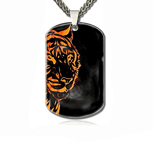 (WYIOU Dog Tag Chains-Flaming Tiger Family pet Identification Card)