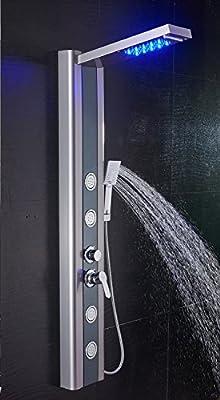 Ello & Allo - Panel de ducha con luz LED, sistema de torre, para ...