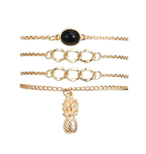 Eoumy Multi Layer Chain Bracelet Set Circle Pineapple Dangle Link Bracelets Set for Women ()