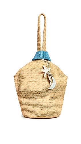 Sensi Studio Women's Pull Through Bag, Beige/Light Blue, One Size