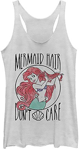 Disney Little Mermaid Hair Don't Care Juniors Racerback Tank Top Shirt(Medium, White Heather)