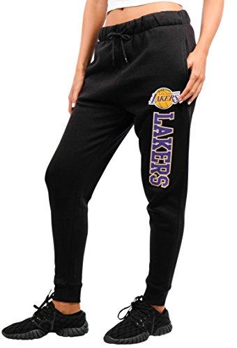 (NBA Los Angeles Lakers Women's Jogger Pants Active Basic Fleece Sweatpants, Medium, Black)